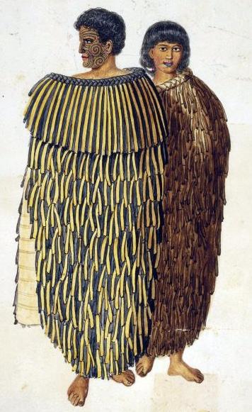 Gravure ancienne d'un couple portant une tenue en lin de Nouvelle-Zélande