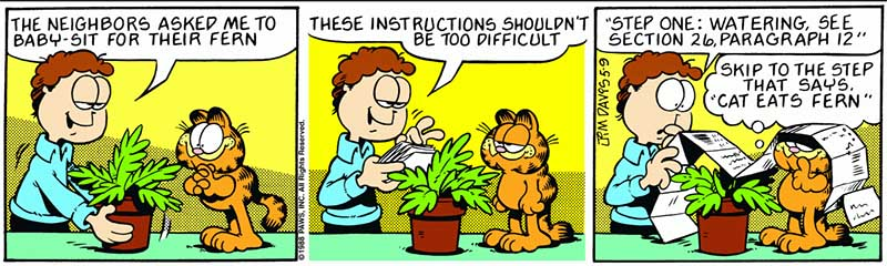 Garfield et la fougère des voisins